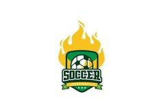 Дизайн логотипа значка футбола Ярлык футбола идентичности команды спорта Стоковое Изображение RF