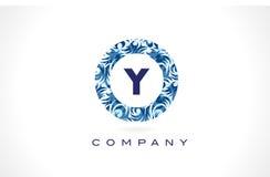 Дизайн логотипа картины письма y голубой Стоковое Изображение