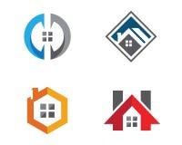 Дизайн логотипа недвижимости, свойства и конструкции Стоковое Изображение RF