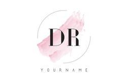 Дизайн логотипа письма акварели DR d r с круговой картиной щетки Стоковое Фото