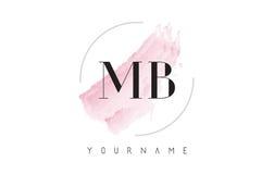 Дизайн логотипа письма акварели MB m b с круговой картиной щетки Стоковая Фотография