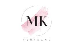 Дизайн логотипа письма акварели MK m k с круговой картиной щетки Стоковая Фотография RF