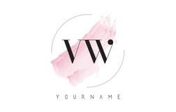 Дизайн логотипа письма акварели VW v w с круговой картиной щетки Стоковое фото RF