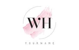 Дизайн логотипа письма акварели WH w h с круговой картиной щетки Стоковое Изображение RF
