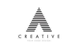 Дизайн логотипа письма зебры с черно-белыми нашивками Стоковое Изображение