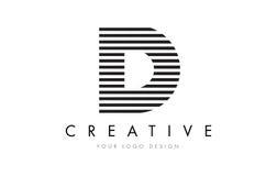 Дизайн логотипа письма зебры d с черно-белыми нашивками Стоковая Фотография RF