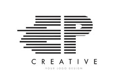 Дизайн логотипа письма зебры EP e p с черно-белыми нашивками Стоковая Фотография