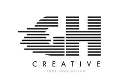 Дизайн логотипа письма зебры GH g h с черно-белыми нашивками Стоковое фото RF