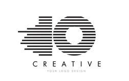Дизайн логотипа письма зебры IO i o с черно-белыми нашивками Стоковые Изображения RF