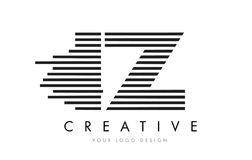 Дизайн логотипа письма зебры IZ i z с черно-белыми нашивками Стоковые Фото