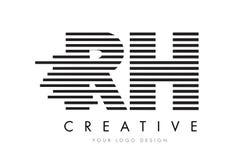 Дизайн логотипа письма зебры RH r h с черно-белыми нашивками Стоковые Фотографии RF