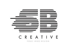 Дизайн логотипа письма зебры SB s b с черно-белыми нашивками Стоковые Изображения RF