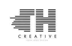 Дизайн логотипа письма зебры TH t h с черно-белыми нашивками Стоковая Фотография