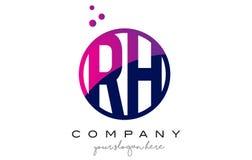 Дизайн логотипа письма круга RH r h с фиолетовыми пузырями точек Стоковое Фото