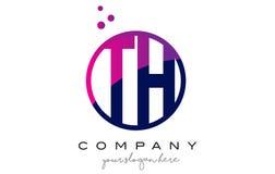 Дизайн логотипа письма круга TH t h с фиолетовыми пузырями точек Стоковые Изображения RF
