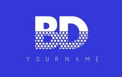 Дизайн логотипа письма BD b поставленный точки d с голубой предпосылкой Стоковые Фотографии RF