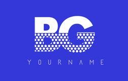 Дизайн логотипа письма BG b поставленный точки g с голубой предпосылкой Стоковое Фото