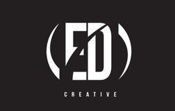 Дизайн логотипа письма ED e d белый с черной предпосылкой бесплатная иллюстрация