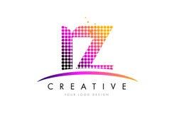 Дизайн логотипа письма IZ i z с magenta точками и Swoosh Стоковое Фото