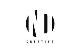 Дизайн логотипа письма ND n d белый с предпосылкой круга Стоковое Фото