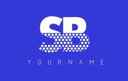 Дизайн логотипа письма SB s поставленный точки b с голубой предпосылкой Стоковые Фотографии RF