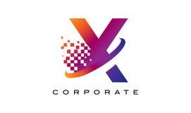 Дизайн логотипа радуги письма x красочный Стоковое Изображение
