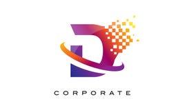 Дизайн логотипа радуги письма d красочный Стоковые Фотографии RF