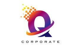 Дизайн логотипа радуги письма q красочный Стоковые Фотографии RF