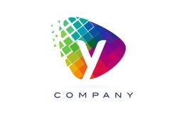 Дизайн логотипа радуги письма y красочный Стоковое Изображение