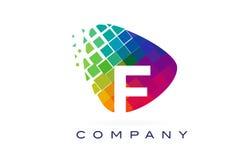 Дизайн логотипа радуги f письма красочный Стоковая Фотография