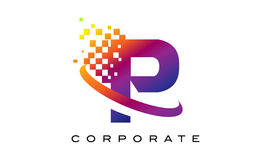 Дизайн логотипа радуги p письма красочный Стоковое Изображение
