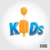 Дизайн логотипа ребенк с символом мороженого и воздушного шара Стоковое Изображение RF