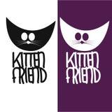 Дизайн логотипа друга котенка Стоковая Фотография RF