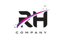 Дизайн логотипа черной буквы RH r h с фиолетовым magenta Swoosh Стоковые Фото