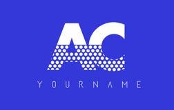 Дизайн логотипа AC A.C. Dotted Письма с голубой предпосылкой иллюстрация штока