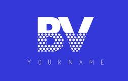 Дизайн логотипа BV B.V. Dotted Письма с голубой предпосылкой иллюстрация штока