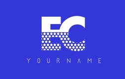 Дизайн логотипа EC E.C. Dotted Письма с голубой предпосылкой иллюстрация вектора
