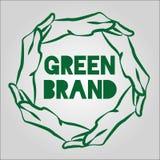 Дизайн логотипа Eco рук зеленого цвета Стоковое фото RF