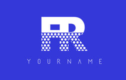 Дизайн логотипа FR F.R. Dotted Письма с голубой предпосылкой иллюстрация вектора