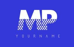Дизайн логотипа MP M.P. Dotted Письма с голубой предпосылкой иллюстрация штока