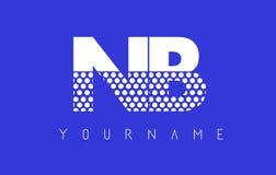 Дизайн логотипа N.B.N.B. Dotted Письма с голубой предпосылкой иллюстрация вектора