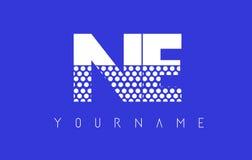 Дизайн логотипа NE N.E. Dotted Письма с голубой предпосылкой иллюстрация вектора