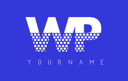 Дизайн логотипа WP W.P. Dotted Письма с голубой предпосылкой бесплатная иллюстрация