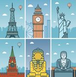 Дизайн ориентир ориентиров мира с горизонтами городов Горизонты городов Парижа, Лондона, Нью-Йорка, Москвы, Гизы и Камакуры конст бесплатная иллюстрация