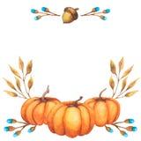 Дизайн осени предпосылки акварели со сбором торжества листвы тыквы пестрым Нарисованная вручную иллюстрация акварели стоковые изображения rf
