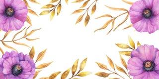 Дизайн осени предпосылки акварели с гербарием, пестрой листвой изолированной на белой предпосылке, Нарисованное вручную illustrat стоковые фотографии rf