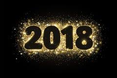 дизайн 2018 оформления яркого блеска Золотой сверкная прямоугольник пыли вектора с номерами на черноте Стоковые Изображения