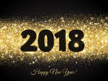 дизайн 2018 оформления яркого блеска Золотой сверкная прямоугольник пыли вектора с номерами на черноте Стоковые Фото