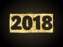 дизайн 2018 оформления яркого блеска Золотые сверкная номера на черной предпосылке Стоковое фото RF