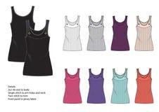 Дизайн одежды женского фронта - панель 2x2 штрафует жилет нервюры Стоковые Фото
